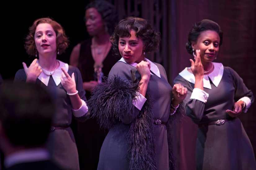 Kaitlyn Riordan, Sabryn Rock and Nehassaiu deGannes as Portia's train in The Merchant of Venice. Photo by David Hou.